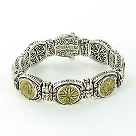 Konstantino Kerma Mixed Coin Link Bracelet Bronze Sterling Silver 15mm Wide 7""
