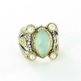 Konstantino Amphitrite Sea Blue Agate Pearl Teardrop Ring Sterling 18K Gold sz 7