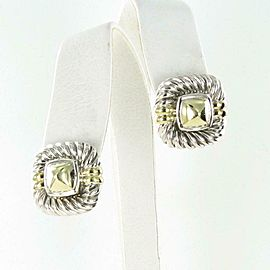 David Yurman Square Cable Earrings 14K Pyramid Center Sterling Silver Omega Back
