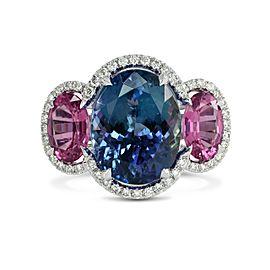 Leibish 18K White Gold Blue Tanzanite & Spinel Diamond Ring Size Ring Size 6