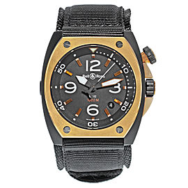 Bell And Ross Marine Automatic Matte Black PVD Steel Mens Watch BR02‑PINKGOLD‑CA