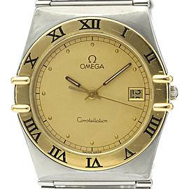 Polished OMEGA Constellation 18K Gold Steel Quartz Mens Watch 396.1070