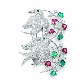 18K White Gold Emerald 1.56cttw Ruby 2.04cttw Diamond 1.92cttw Brooch