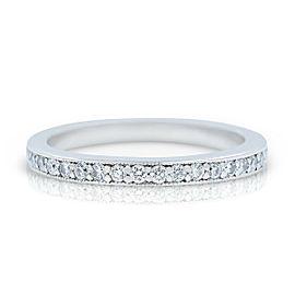 Rachel Koen Platinum Dainty Pave Diamond Wedding Band 0.49 cttw Size 6