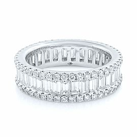 Baguette And Round Cut Diamond Eternity Band in 18K White Gold 3.44cts