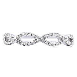 Rachel Koen 18K White Gold 0.25cts Genuine Twist Diamond Pave Ladies Ring Sz 6.5