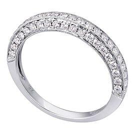 Rachel Koen 18K White Gold 0.88cts Genuine Diamond Pave Ladies Ring Size 6.5