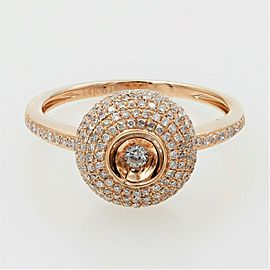 Rachel Koen Pave Diamond Round Ring Fashion Style in Rose Gold 0.65cts