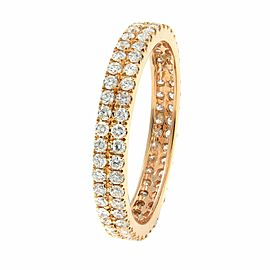 Double Row Scoop Micro Pave Round Diamond Eternity Band 18K Rose Gold 0.61cts