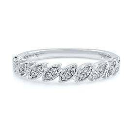 Rachel Koen Round Diamond Stackable Milgrain Gold Wedding Band Ring 0.15cts