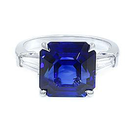 Octagonal Asscher Cut Sapphire Three Stone Diamond Engagement Ring GRS Platinum