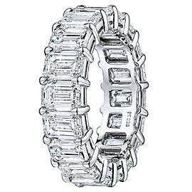 Rachel Koen Platinum Emerald Cut Diamond Eternity Band 8.51cts