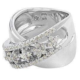 Rachel Koen Cross Over 0.93 cts Diamond Ring 18K White Gold