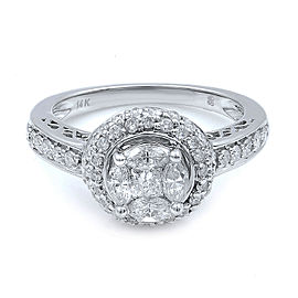 Rachel Koen 14K White Gold Diamond Halo Engagement Ring Size 6.75 1.13cts