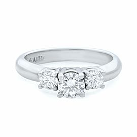 Rachel Koen 14K Platinum Three Stone Diamond Engagement Ring 0.75ct SZ 7.25