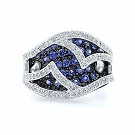 Rachel Koen 14K White Gold Diamond and Light Blue Sapphire Ring Size 7