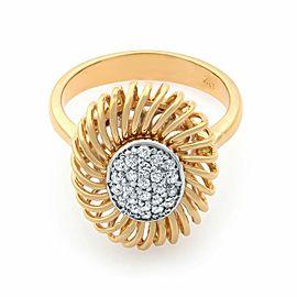 Rachel Koen 18K Rose Gold Diamond Unique Cocktail Ring Size 6.75 0.15cts