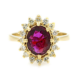 Rachel Koen Oval Ruby Halo Set Diamond Yellow Gold Ring 1.13ct Size 6