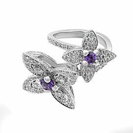 Louis Vuitton 18K White Gold Diamond Les Luxuriantes Amethyst Ring Size 7
