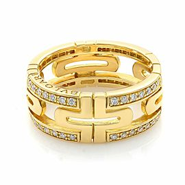 Bvlgari 18K Yellow Gold Diamond Parentesi Ring Size 6.5