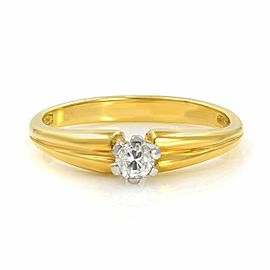 Solitaire Diamond Engagement Ladies Ring 18K Yellow Gold 0.10 Cttw Size 6.5