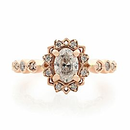 Rachel Koen 14K Rose Gold Oval Halo Diamond Engagement 0.75cts Ring 5.75