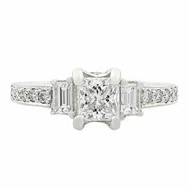 18K White Gold Princess & Emerald Cut Three Stone Engagement Ring 1.36ct SZ 6.5