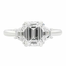 18k White Gold Emerald & Trapezoid Three Stone Diamond Engagement 1.96ct Ring