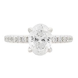 Rachel Koen 18K White Gold Oval Diamond Engagement Ring 1.50Ct Size 6.75