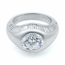 Platinum Unique Baguette Cut Diamonds and Round Center Stone Ring Size 5