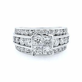 Rachel Koen 14K White Gold Princess Head Wide Engagement Ring 3.00ct SZ 4.75