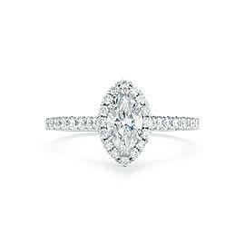 Rachel Koen Marquise Cut Halo Set Diamond Engagement in Platinum 1.59cts