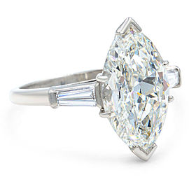 Three Stone 5.40ct Marquise Diamond Engagement Rings With Side Baguettes Size 8