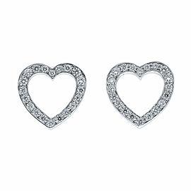 Tiffany & Co Platinum Diamond Open Heart Stud Earrings 0.08cts