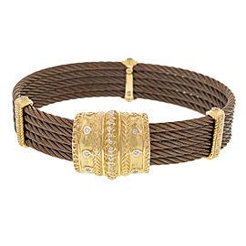 Charriol Celtique Cable 18K Yellow Gold Diamond Ladies Bracelet 0.42 cttw