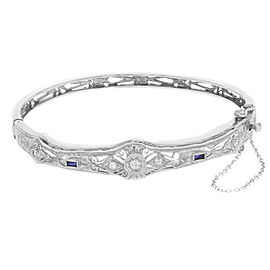 14K White Gold 0.15 Cttw Diamods & 0.05 Blue Sapphires Filigree Ladies Bracelet