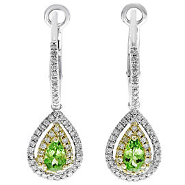 Rachel Koen Double Pave Drop Green Garnet Earrings Hinged Backing Earring 14K
