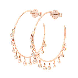 Rachel Koen 14K Rose Gold Diamond Shaker Hoop Earring 0.65Ct
