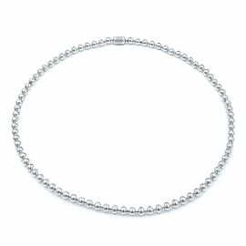 18K White Gold Cartier Diamond Tennis Ladies Necklace Bead Bezels Style 4.26Cttw