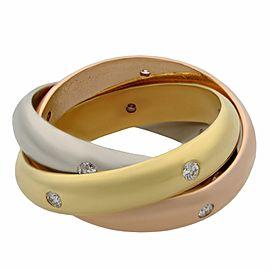 Cartier 18K Rose Yellow White Gold Diamond Trinity Ring Size 49