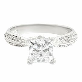 Rachel Koen 14K White Gold Diamond Princess Cut Bridal Ring Set 1.33ct SZ 6