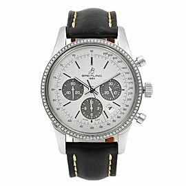 Breitling Transocean Steel SIlver Dial Diamond Bezel Men Watch AB015253/G724