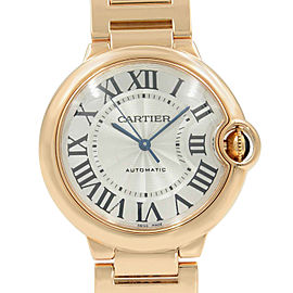 Cartier Ballon Bleu 18K Rose Gold Silver Dial Automatic Midsize Watch W69004Z2