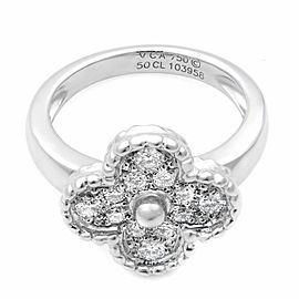 Van Cleef & Arples 18K White Gold Vintage Alhambra Diamond Ring Size 5.25