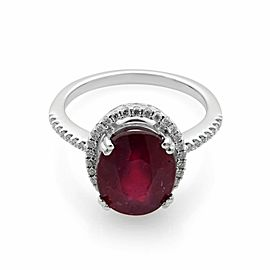 Rachel Koen 14K White Gold 3.60cttw Ruby 0.22cttw Diamond Halo Engagement Ring