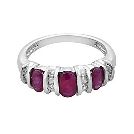 Rachel Koen 14K White Gold Ruby 0.75cttw Diamond 0.17cttw Cocktail Ring SZ7
