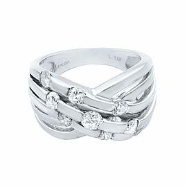 Rachel Koen 14K White Gold Wide Crisscross Diamond Band 1.00cttw Size 7