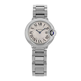 Cartier Ballon Bleu 28mm Steel Silver Dial Quartz Womens Watch W69010Z4