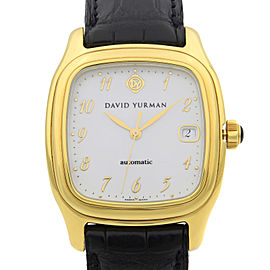 David Yurman Thoroughbred 18K Yellow Gold White Dial Mens Watch T301-L88