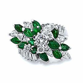 Rachel Koen Platinum 1.70cttw Diamond 1.0cttw Emerald Antique Cocktail Ring Sz7